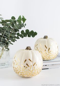 Celebrate the season with festive confetti-adorned pumpkins. #DIY