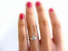 Sterling silver triangle ring geometric jewelry. by lunahoo, $34.00