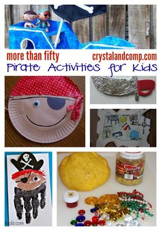 More Than 50 Pirate Activities for Kids Do you have some fun pirate ideas planned for Talk Like a Pirate Day (which is September We do! Here is a collection of over 50 pirate activities for Published September 2016 Pirate Preschool, Pirate Activities, Pirate Crafts, Camping Activities, Summer Activities, Toddler Activities, Preschool Activities, Summer Crafts, Crafts For Kids