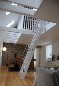 Gallery of Ackling Cook Bothy / Reiach and Hall Architects 2 Stairs Makeover Ackling Architects Bothy Cook Gallery hall Reiach Space Saving Staircase, Loft Staircase, House Stairs, Staircase Design, Stair Design, Spiral Staircases, Stairs To Loft, Steep Staircase, Staircase Ideas