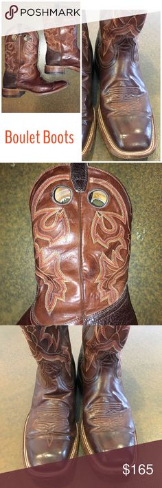 Boulet Mens Mahogany Brown Leather Cowboy Boots Boulet Stockman Men's Cowboy Boots. Handcrafted. Mahogany brown full grain leather western cowboy boots with red, gold and cream stitching. Cushioned insole. Double stitch welt with rubber stockman heel. Wide square toe. Leather sole. Walking heel. Easy-on pull holes. No box. Excellent used condition. Only wear is to soles. No flaws to leather. Only worn a few times. Handmade in Canada since 1933. Size 10.5E. Retail $395.    ✅Always Authentic✅…