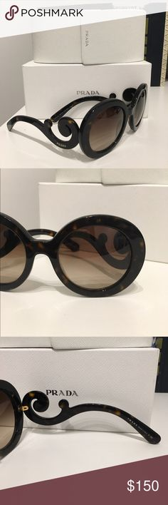 Prada Classic Baroque in Brown Tortoise Classic Prada sunnies! I fell in love with the tortoise design. Comes with box & case. There is very slight wear around the ends (by the ear areas). Other than that, GREAT condition! Looking to sell or trade for the right pair. Prada Accessories Sunglasses