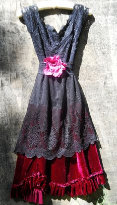 Black lace dress  red velvet silk  party ruffles. Loving this dress