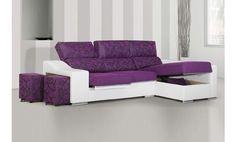 Sofá tres plazas asientos deslizantes y chaise longue a la derecha en tela y ecopiel.