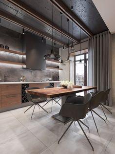 loft interior 2 on Behance Source by mtherees decoration designers luxury Design Loft, Loft Interior Design, Küchen Design, Interior Architecture, House Design, Design Trends, Loft Kitchen, Home Decor Kitchen, Kitchen Interior