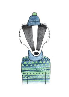 Bob the badger Art Print. Badger Illustration, Watercolour Illustration, Watercolor Paintings, Woodland Creatures, Woodland Animals, Fox Sketch, Geometric Fox, Commonplace Book, Animal Design