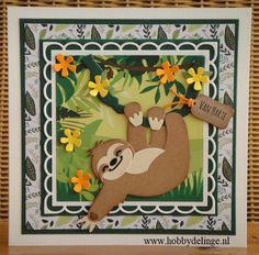 Marianne Design Cards, Elizabeth Craft Designs, Cute Cards, Paper Cutting, Cardmaking, Calendar, Stamp, Stencil, Sloths