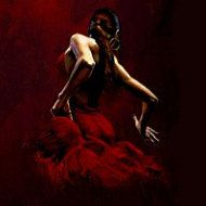Fabian Perez Dancer in Red Oil Painting Giclee Art by RedRomance