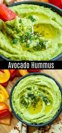 This delicious Avocado Hummus is a healthy hummus recipe made without tahini. It is an easy vegan gluten-free dip made with avocados and chickpeas whipped into a smooth creamy spreadable dip. A simple dip that is a healthy appetizer for parties. Avocado Hummus, Avacado Dip, Avocado Cream, Vegan Appetizers, Easy Appetizer Recipes, Dinner Recipes, Soup Appetizers, Clean Eating Snacks, Healthy Snacks