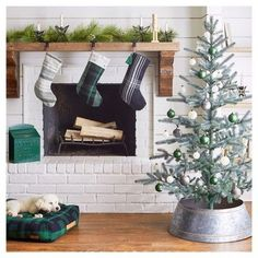 Make your mantel merrier this year with timeless, yet modern, decorations. Detailed ornaments, plaid stockings, Letters to Santa Bin and a house log holder will bring everyone together. There's even a coordinating, plush pet bed.