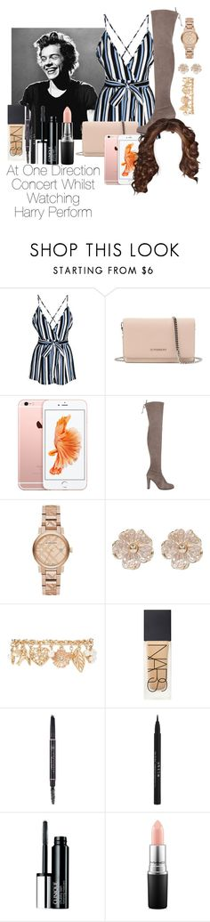 """""""At A One Direction Concert Whilst Watching Harry Styles Perform"""" by jenadamss ❤ liked on Polyvore featuring Glamorous, Givenchy, Stuart Weitzman, Burberry, River Island, Forever 21, NARS Cosmetics, Anastasia Beverly Hills, Stila and Clinique"""