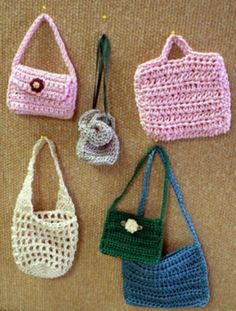 Crochet bags for dolls..  Now to learn to crochet.
