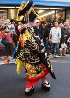 Japan-- Oiran-- kimono, obi, and hair ornamentation