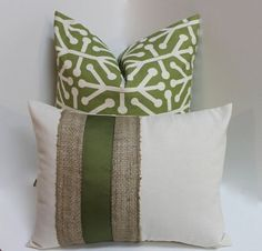 Burlap Olive green decorative pillow cover pair abstract design, home decor throw pillow retro, modern