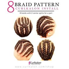 8 Braid Pattern: Here's the secret to how we get the perfect crochet install.  1⃣ Start with freshly washed and conditioned hair.  2⃣ Create an 8 braid pattern with a U part. (seen in our photo above)  3⃣ Crochet 10 curls onto each braid and repeat the process until entire head is complete. (The two ends braid closes to the ear [on each side] don't need more than 5 curls per braid). Use remaining where needed.  4⃣ Cut, Style and tag