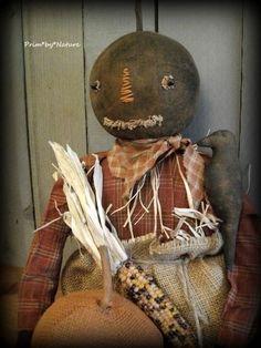 Primitive Harvest Scarecrow Doll with Pumpkin and Old Crow Fall Autumn Halloween #NaivePrimitive #PrimbyNature