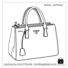 fe7d2b2d040e PRADA - SAFFIANO BAG- Designer Handbag Illustration   Sketch   Drawing    CAD   Borsa