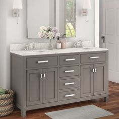 Modern charm meets contemporary flair with this vanity base. This double vanity set is crafted of solid birch wood, with a Carrara white marble top, and two undermount ceramic sinks. It features two… Double Sink Bathroom, Bathroom Sink Vanity, Master Bathroom, Grey Bathroom Cabinets, Bathroom Vanity Designs, Gray Bathroom Decor, Bathroom Blinds, Master Baths, Brown Bathroom