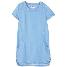 Denim Dress (€20) ❤ liked on Polyvore featuring dresses, short sleeve dress, denim dress, short sleeve denim dress, blue denim dress and mango dresses