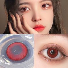 Applicable to all color eyes! Due to variable factors, such as light, camera lens filters, surrounding colors, original eye color/ eye shape/ makeup, etc, the color of the lenses may vary and look different. Such cases should be acceptable.Anma Beauty Begonia Red colored contacts always wish you be the best of yourself. 6 More features of Begonia Red Lenses 1. The quite natural color leads to a hybrid effect, suitable for wearing in our daily life, match with kinds of makeups.2. Comfortable and Red Eyes Contacts, Best Colored Contacts, Color Contacts, Eye Shape Makeup, Eye Makeup, Dark Hair Pale Skin, Eye Lens Colour, Cosplay Contacts, Lenses Eye