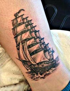my pirate ship tattoo. inner ankle. done by Jimmy Roach.