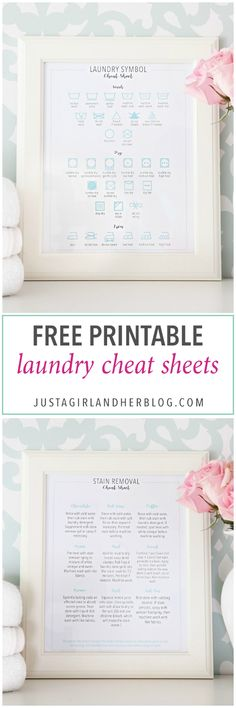 Free Laundry Cheat Sheet Printables for Spring Cleaning, Stain Removal, Laundry Symbols, Laundry Room, Laundry Room Decor, Printable, Organizing Printables, Organizational Printables, Organized, Free Printables, Spring Cleaning Printables