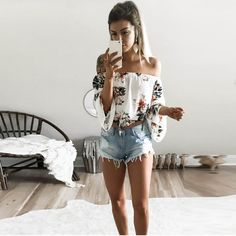 Hot Style Off Shoulde Sexy Print T-Shirt