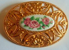 AVON Pink Roses Brooch, Gold Tone PIn by VintageVarietyFinds on Etsy