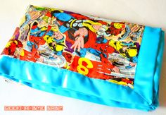 CUSTOM Comic Book Cotton or Flannel Blanket backed with Minky and trimmed in Satin Binding - Geek-a-bye Baby Blanket -- Comic Geek
