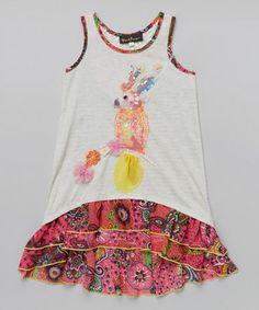 760750e60d12 Hannah Banana Gray   Red Floral Bird Hi-Low Dress - Girls