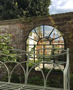 """One of our architectural pieced hand painted in the classic colour of """"Railings"""" from the always beautiful Farrow and Ball paint collection. Little Gardens, Small Gardens, Big Garden, Home And Garden, Backyard Ideas, Garden Ideas, Mirror Decor Living Room, Industrial Mirrors, Garden Mirrors"""
