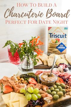 #ad Building a gorgeous meat and cheese board for date night or a couples night is easy to do and can be stress-free if you follow a few tricks. Having @TRISCUIT Crackers on hand is just one of those tricks. #TriscuitCharcuterie #gourmet #datenight #datenightideas #appetizer via @ijustmakesandwi