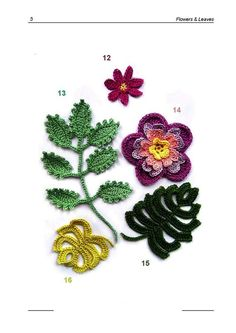 -Crochet flowers and leaves diagram