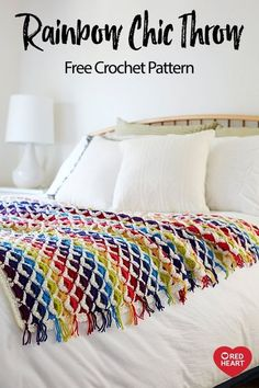 Rainbow Chic Throw free crochet pattern in Chic Sheep by Marly Bird yarn. Choose whatever colors you would like in your personal rainbow and crochet this fun throw! Its totally adaptable to any room by using colors as bright or muted as you wish. Crochet Afgans, Crochet Yarn, Hand Crochet, Crochet Stitches, Free Crochet, Crochet For Beginners Blanket, Crochet Supplies, Afghan Crochet Patterns, Learn To Crochet