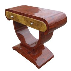 Contemporary Art Deco Style Rosewood and Burl Console Table