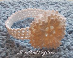 Instant Download Crochet Pattern #82 Snowflake Baby Headband in sizes 0-3, 3-6, 6-12 Months