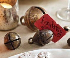 Vintage sleigh bells as place card holders.