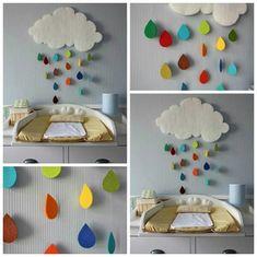 quarto bebê - nuvem colorida feita com feltro, papelão e cola