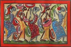 Tribal Musicians (Kalighat Painting - Water Color on Paper - Unframed))