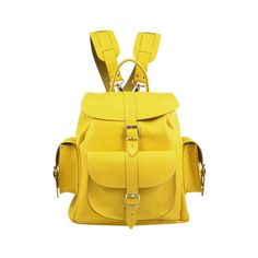 Grafea Popcorn Medium Leather Rucksack (11,285 PHP) ❤ liked on Polyvore featuring bags, backpacks, yellow backpack, real leather bags, genuine leather backpack, grafea and knapsack bag
