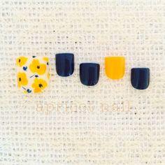 黄色の花柄×紺