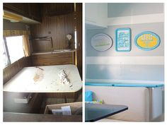 Ugly vintage camper renovated into a modern glamper. Before and after photos