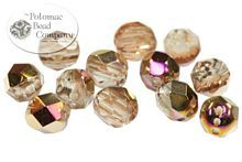 Faceted fire polished RounTrio 3-hole round shape beads from the Czech Republic