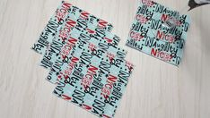 Christmas Cloth Napkins Naughty or Nice? Cocktail Beverage 5 Inch Set of 5