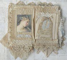 Mixed Media Fabric Collage Book of Paris Belles | eBay