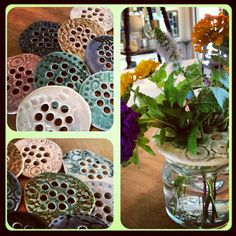 Jar frog.  Put atop a jar and holes support flowers.