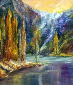 Título: Alamos junto al Río - Oleo sobre madera (60x53cm) Espátula y pincel - San Luis, Argentina - Autora: Alejandra Etcheverry