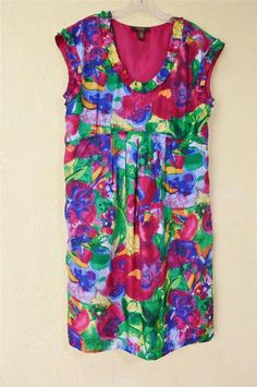 Victor Alfaro Watercolor Floral Babydoll Dress 14 Fuchsia Green Red Blue Party #VictorAlfaro #Babydoll #SummerBeach