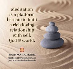 Meditation is a means of transforming the mind.It is a simple practice available to all, which can reduce stress, increase calmness and clarity and promote happiness Rajyoga Meditation, Meditation Benefits, Meditation Quotes, Karma Quotes Truths, Reality Quotes, Qoutes, Buddha Quotes Life, Life Quotes, Brahma Kumaris Meditation