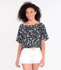 Blusa Cropped com Estampa Floral - Lojas Renner